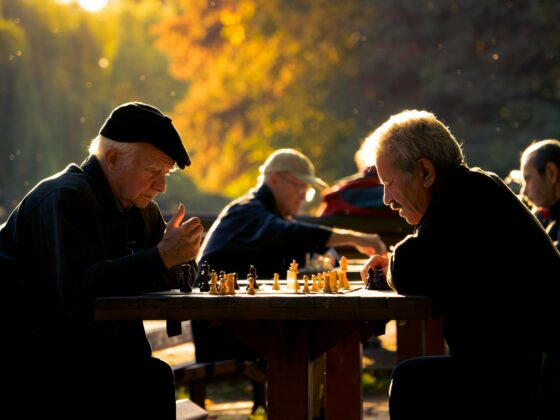 Two elderly men playing chess in the park