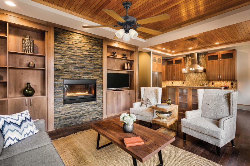 A beautiful rustic style home with natural woods and earth tones