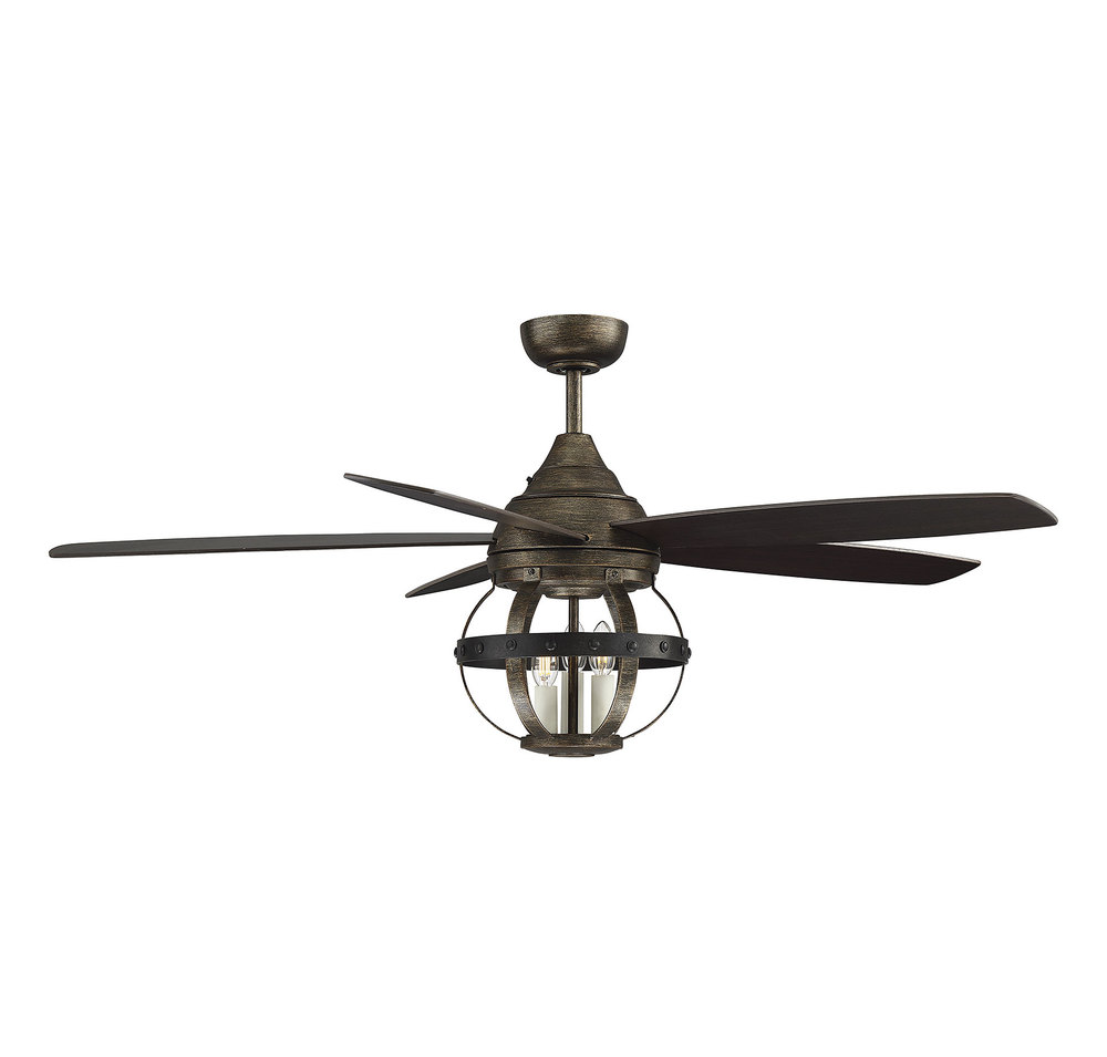 A ceiling fan made from reclaimed wood and bronze hardware