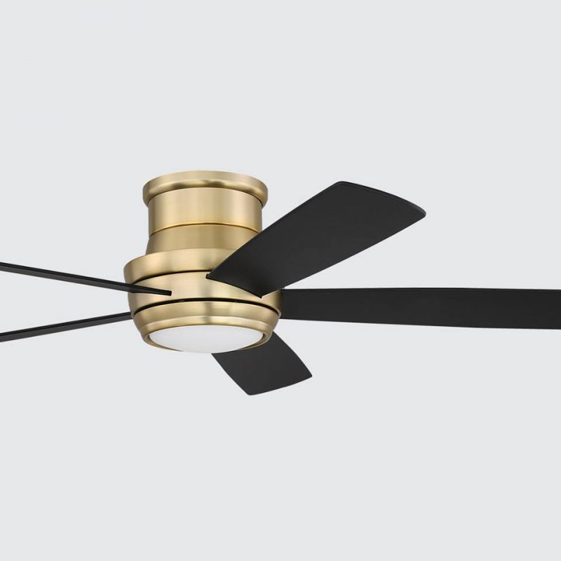A cost-effective ceiling fan that has black blades and gold base