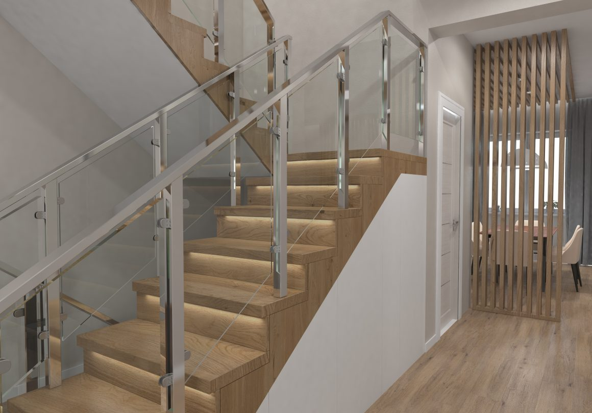 LED strip lights under staircase steps